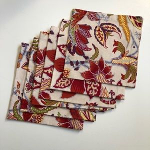 Pottery Barn Napkins Dinner Fall Leaf Floral Red
